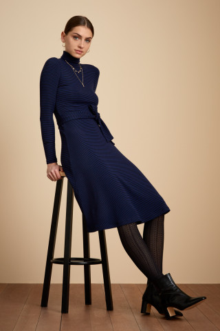 Rollneck Dress Tweedy Stripe