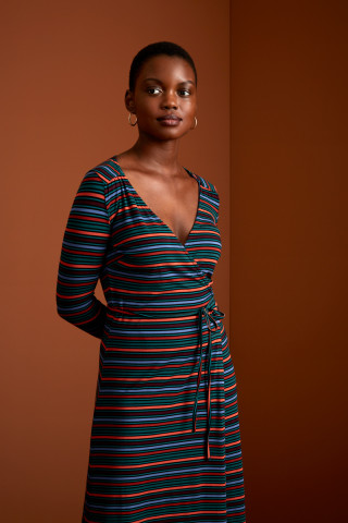 Mandy Wrap Dress Crush Stripe